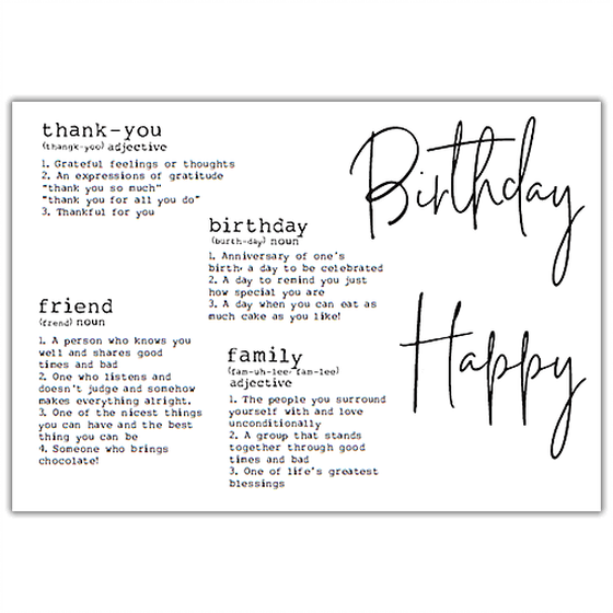 Julie Hickey - Dictionary Definitions Stamp Set