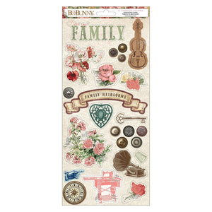 BoBunny - Family Heirlooms - Sticker Sheet - Cardstock (41 pieces)