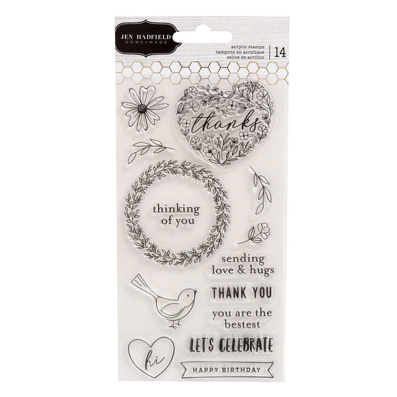 American Crafts - Pebbles - Jen Hadfield - Hey, Hello - Acrylic Stamps