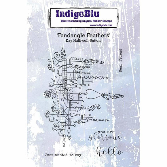 IndigoBlu Fandangle Feathers A6 Red Rubber Stamp