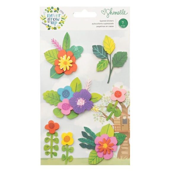 American Crafts - Never Grow Up - Layered Floral Stickers
