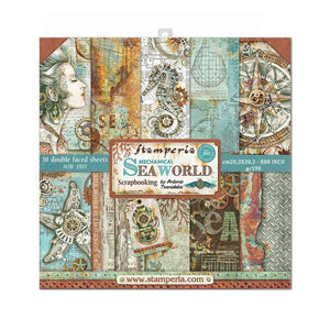 "Stamperia - Block 10 sheets 20.3X20.3 (8""X8"") Double Face Sea World"