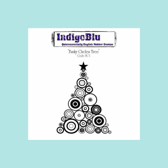 IndigoBlu Funky Circles Tree A6 Red Rubber Stamp by Indigoblu