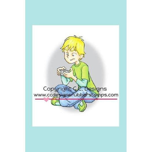 C.C. Designs Roberto's Rascals Gaming Boy Chris Rubber Stamp