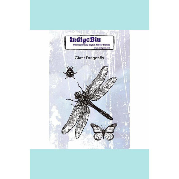 IndigoBlu Giant Dragonfly A6 Red Rubber Stamp by Kay Halliwell