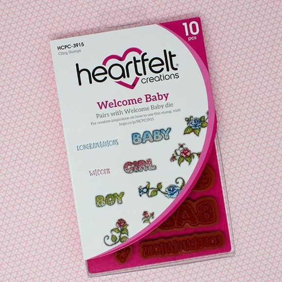 Heartfelt Creations - Welcome Baby Cling Stamp Set
