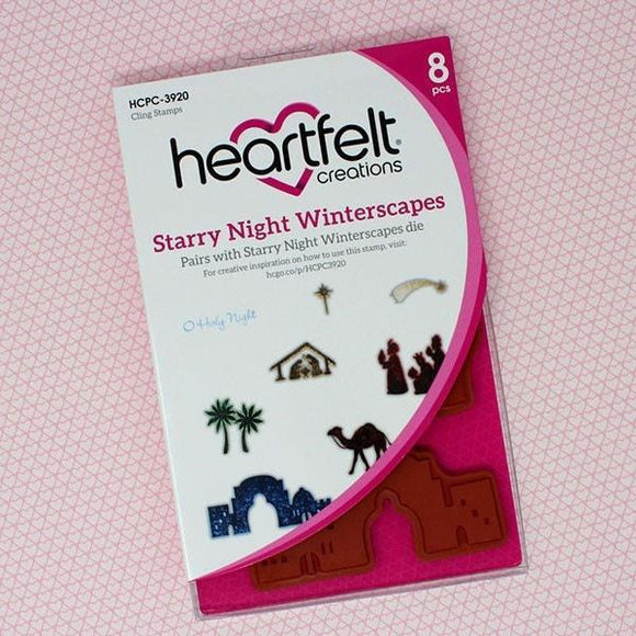 Heartfelt Creations - Starry Night Winterscapes Cling Stamp Set