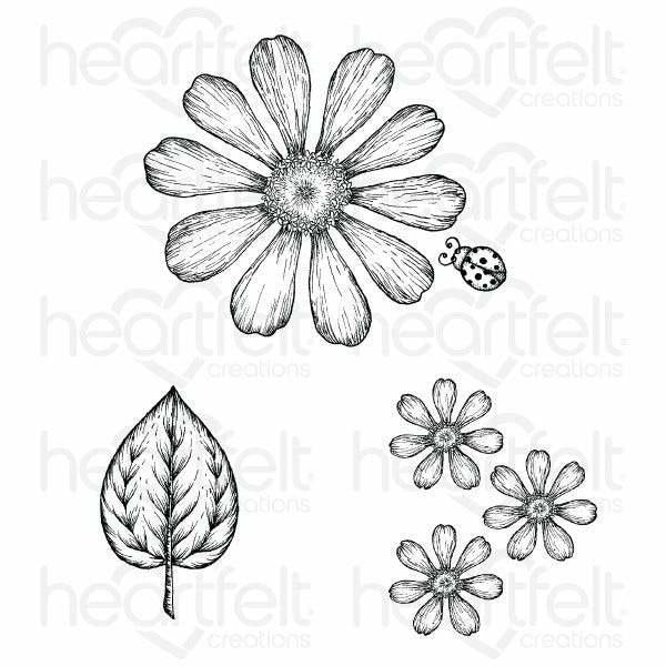 Heartfelt Creations - Large Garden Zinnia Cling Stamp Set