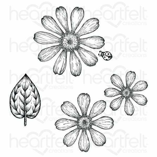 Heartfelt Creations - Small Garden Zinnia Cling Stamp Set