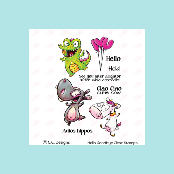 C.C. Designs Hello Goodbye Clear Stamp and Hello Goodbye Outline Metal Die