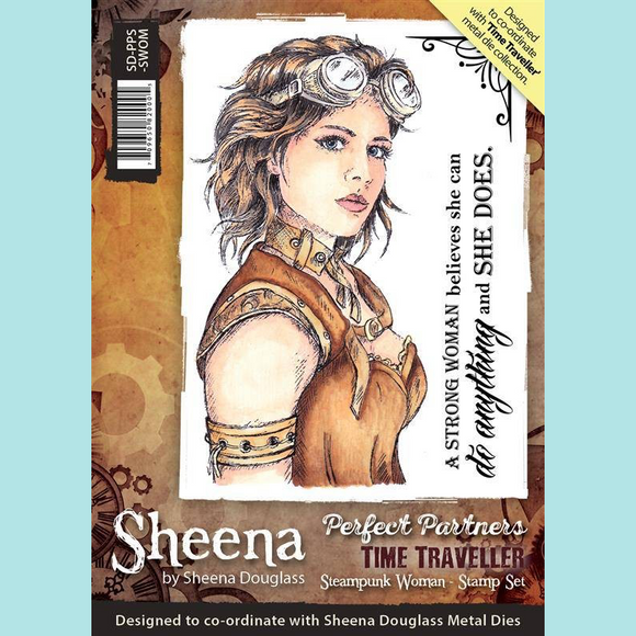 Crafters Companion - Sheena Douglass Perfect Partners Time Traveller Steampunk Woman Stamp Set