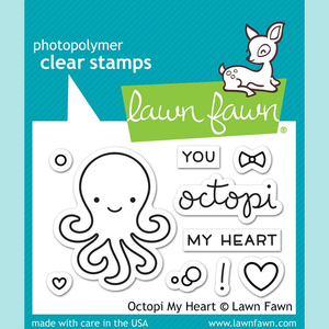 Yellow Green Lawn Fawn - Octopi My Heart - Stamp and Die Sets