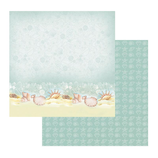 Couture Creations Sea Breeze Collection - Patterned Paper - Sea Shells on a Seashore