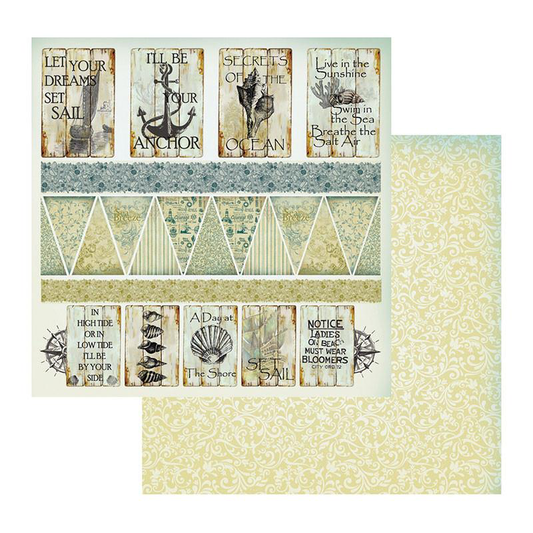 Couture Creations Sea Breeze Collection - Patterned Paper - Caught in the Wind