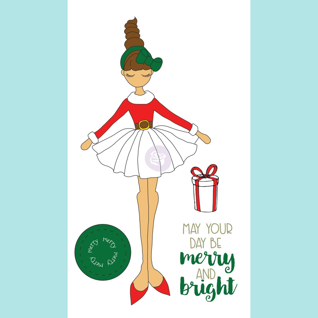 White Smoke Julie Nutting Christmas Stamp Merry Doll
