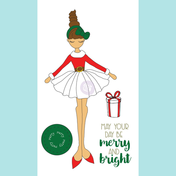 Julie Nutting Christmas Stamp Merry Doll