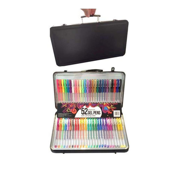 Poppy Crafts 52 Gel Pen Set With Carry Case