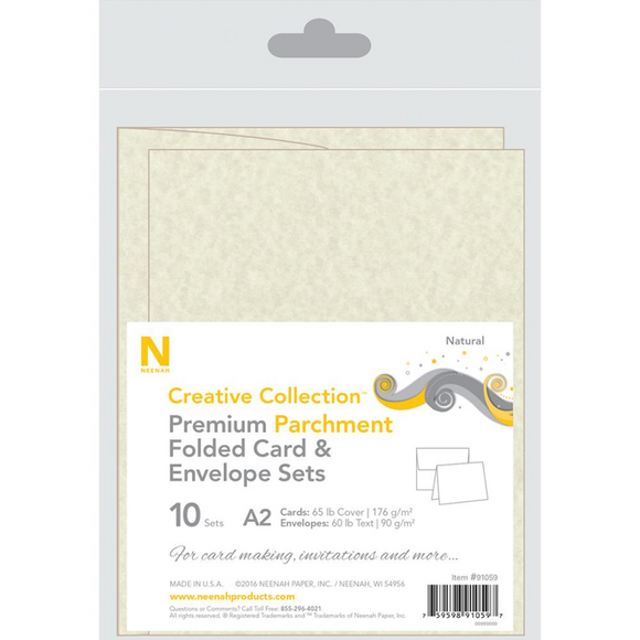 Neenah A2 Premium Parchment Folded Cards/Envelopes 10/Pkg