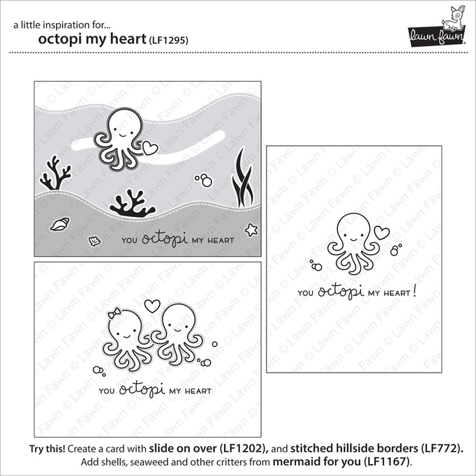 White Smoke Lawn Fawn - Octopi My Heart - Stamp and Die Sets