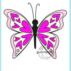 Gummiapan Heartly Butterfly Stamp