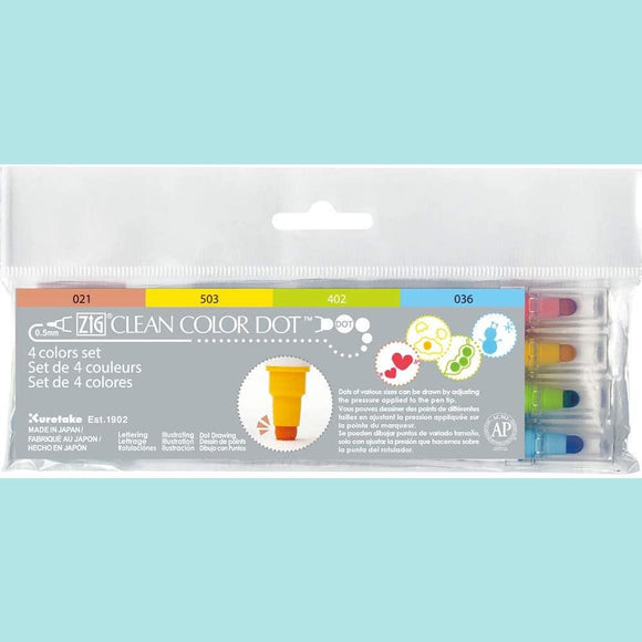 Kuretake - ZIG Clean Color Dot Markers - 4 Colors Set