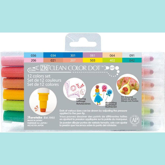 Kuretake - ZIG Clean Color Dot Markers - 12 Colors Set
