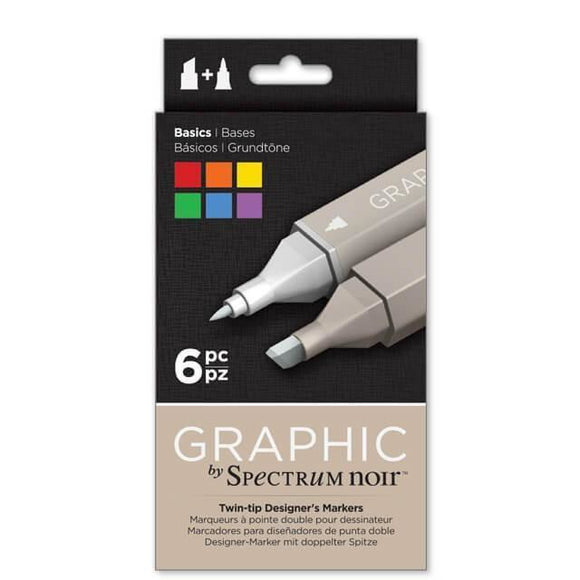 Spectrum Noir Dual Tip Alcohol Markers - Graphic - Basics 6 pack