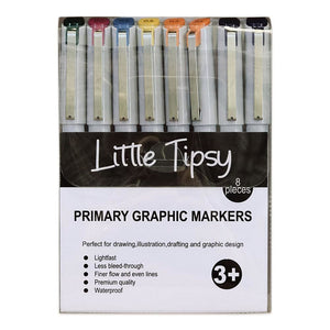Little Tipsy - Graphic Markers - Primary Colours - 8 Piece Set