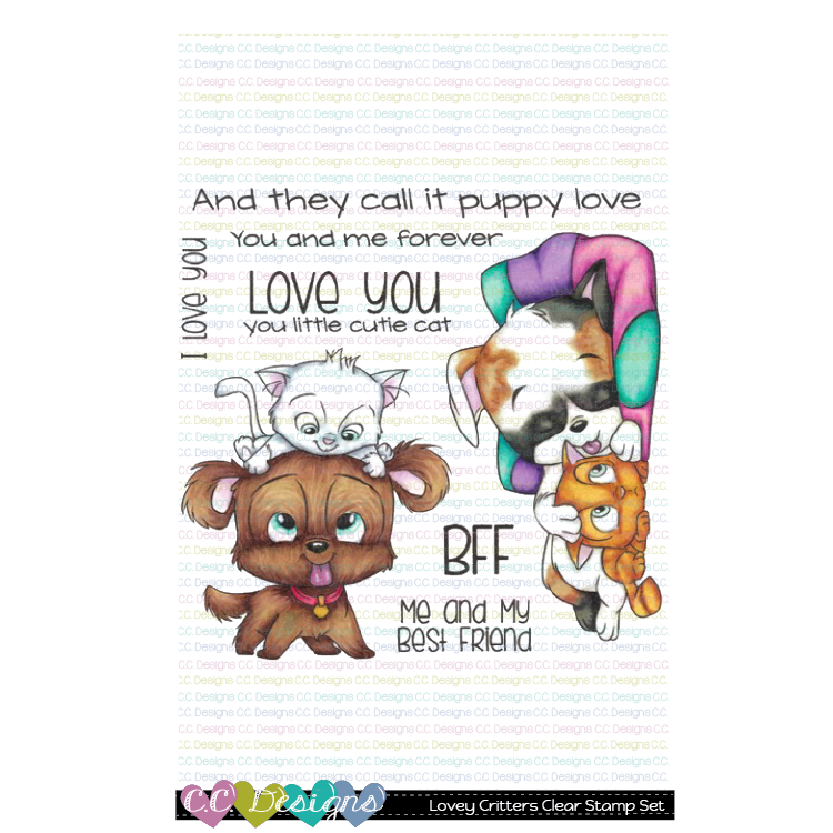 C.C. Designs - New Lovey Critters Clear Stamp Set