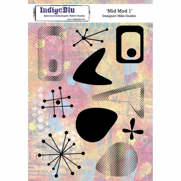 IndigoBlu Mid Mod 1 A5 Red Rubber Stamp