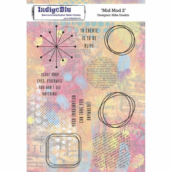 IndigoBlu Mid Mod 2 A5 Red Rubber Stamp