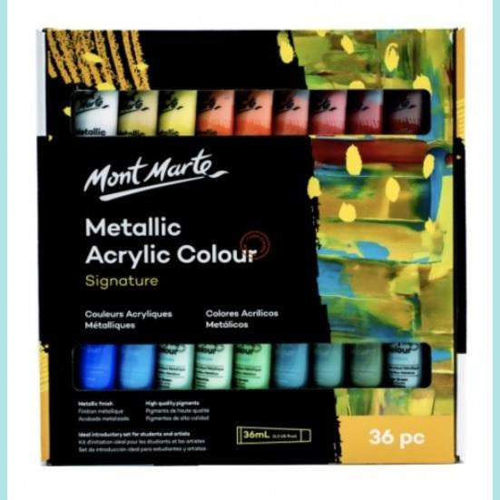 Mont Marte - Signature Metallic Acrylic Colour Paint Set 36pc
