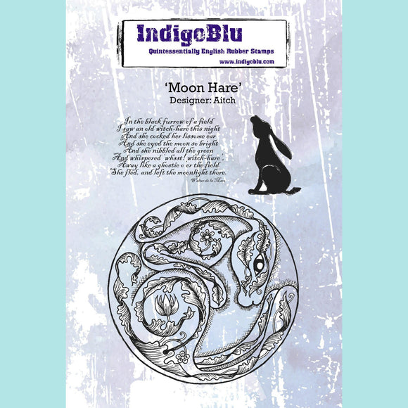 Indigoblu - Moon Hare A6 Red Rubber Stamp