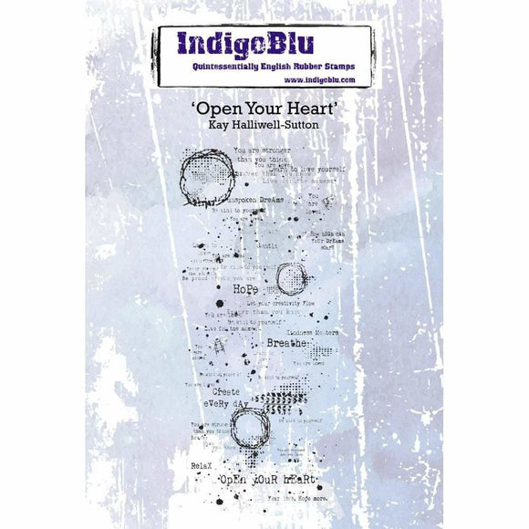 IndigoBlu Open your Heart A6 Red Rubber Stamp