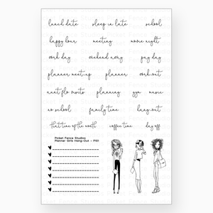 Picket Fence Studios - Planner Girls Hang Out Clear Stamp