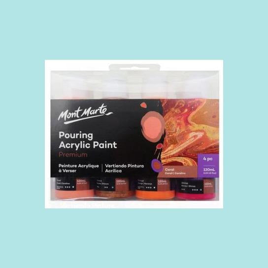 Mont Marte - Pouring Acrylic 120ml 4pc - Coral