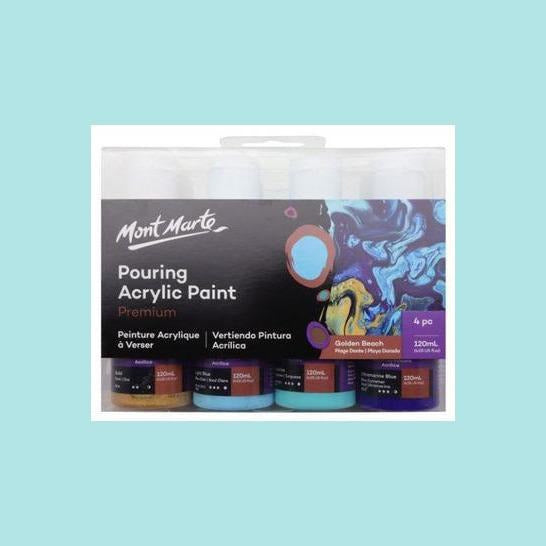 Mont Marte - Pouring Acrylic 120ml 4pc - Golden Beach
