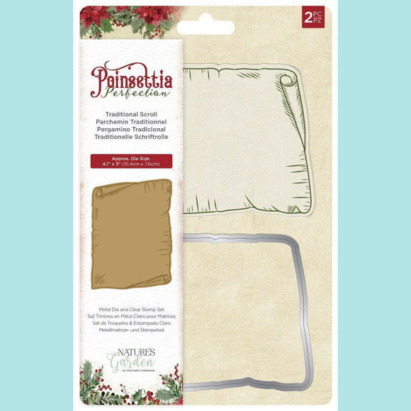 Crafter's Companion - Poinsettia Perfection - Stamps and Dies - Traditional Scroll