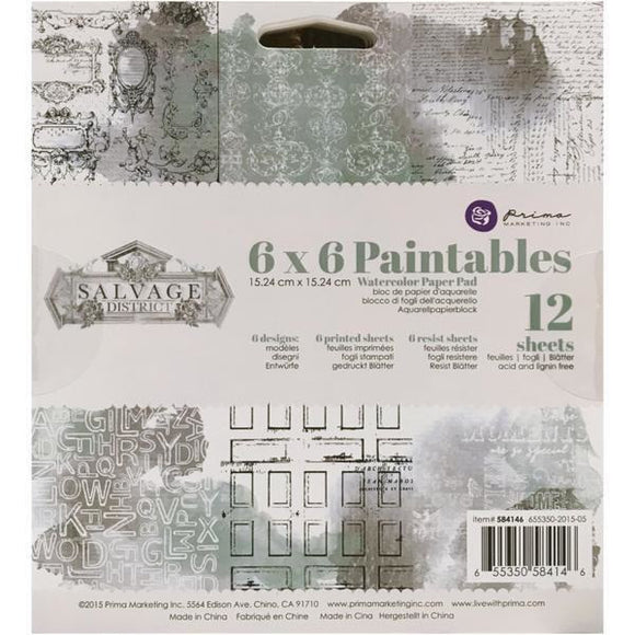 Prima Marketing - Paintables Watercolour Paper 6x6 - Salvage District