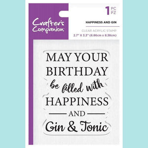 Crafter's Companion - Clear Acrylic Stamps - Happiness and Gin