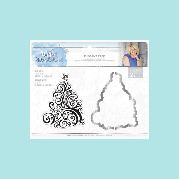 Crafters Companion - Sara Signature Collection - Winter Wonderland Stamp & Die Set - Elegant Tree
