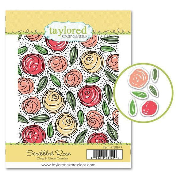 Taylored Expressions - Scribbled Rose Cling & Clear Combo