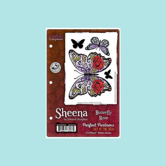 Crafters Companion - Sheena Douglass Perfect Partners Day of the Dead Stamp- Butterfly Rose