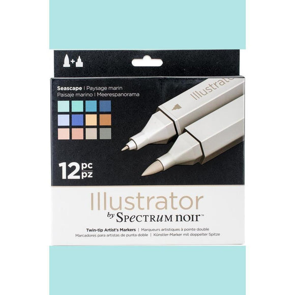 Spectrum Noir Dual Tip Alcohol Markers - Illustrator - seascape - 12 pack