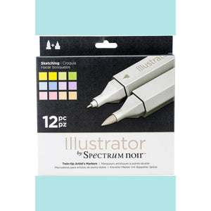Spectrum Noir Dual Tip Alcohol Markers - Illustrator - Sketching - 12 pack