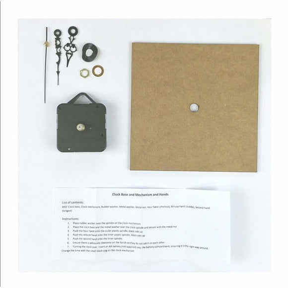 IndigoBlu - Small square Clock Kit (145mm diameter) with mechanism and hands
