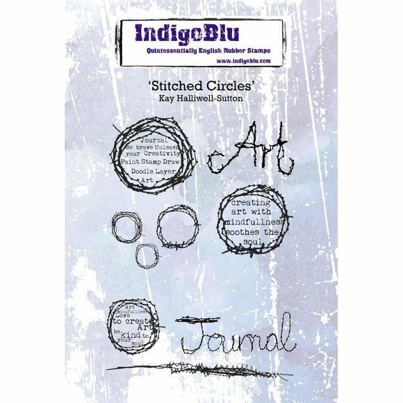 IndigoBlu Stitched Circles A6 Red Rubber Stamp