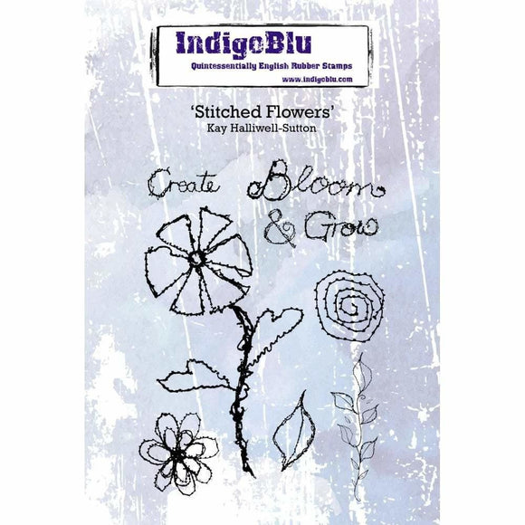 IndigoBlu Stitched Flowers A6 Red Rubber Stamp