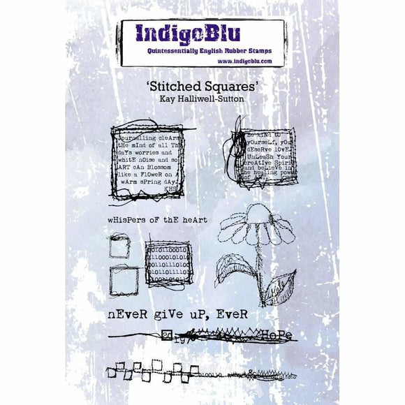 IndigoBlu Stitched Squares A6 Red Rubber Stamp