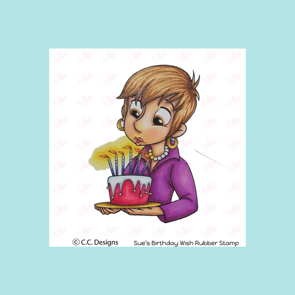 C.C. Designs Roberto's Rascals Sue's Birthday Wish Rubber Stamp